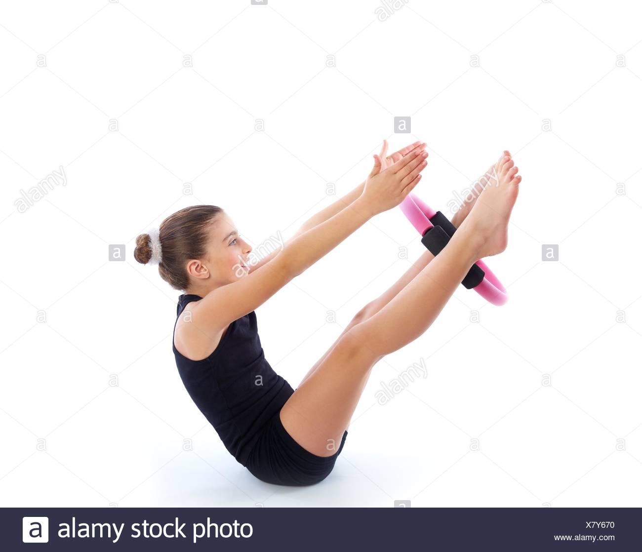 Fitness Pilates Yoga Ring Kid Girl Exercise Workout On White Background Stock Photo Alamy
