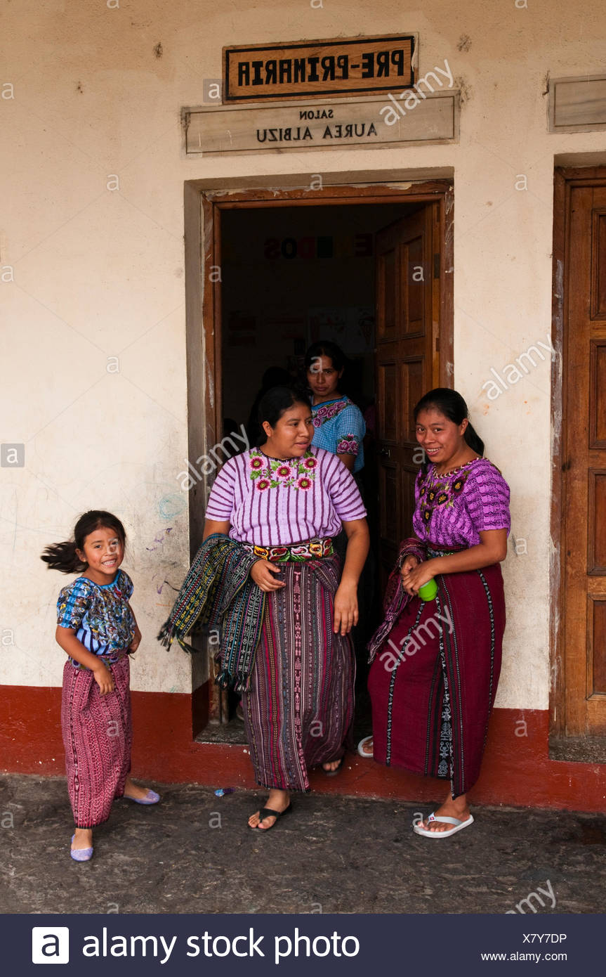 School of Santiago Atitlan, Lago de Atitlan, Guatemala, Central America Stock Photo