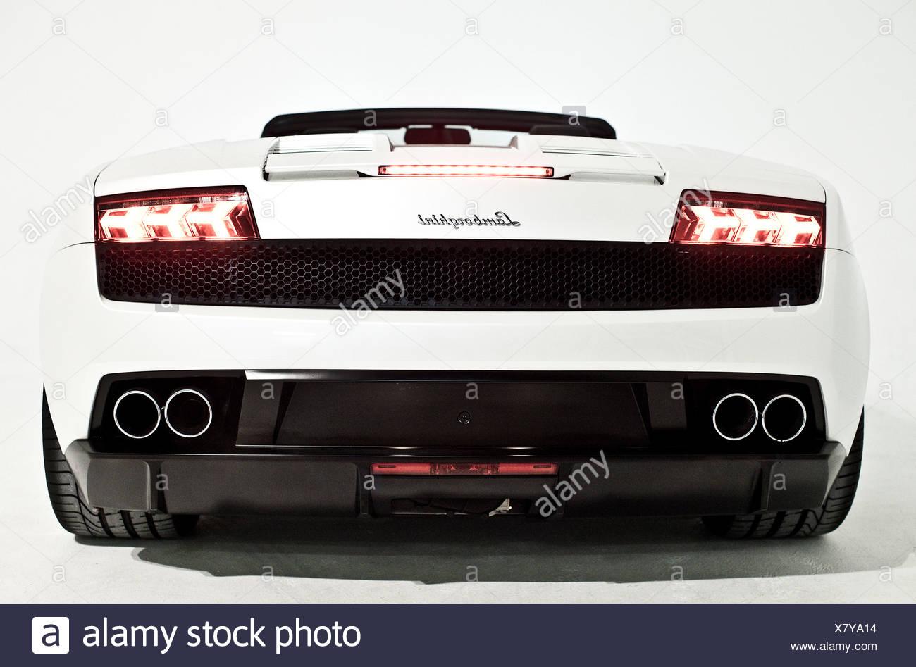 White Lamborghini convertible, tail lights - Stock Image