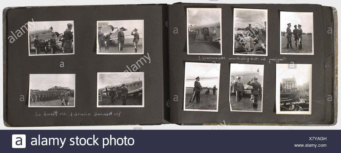 A memento album for a Luftwaffe staff officer of the 3rd Luftflotte, with 133 photos of different sizes, some inscribed Portraits of General Sperrle as Commander-in-Chief West 1939 and some of his staff officers, including his Chief of Staff, GenMaj Ritter von Pohl. Chief Engineer of the 3rd Luftflotte, Staff Eng. Scheunemann(?), Group Ia (Operations Chief) Colonel Koller, Chief Quartermaster Colonel Stein, Staff Judge Advocate Dr. Eckerle, and others. Inspections by Göring, Lörzer, Udet, and Milch. Pictures of aircraft, shot-down enemy planes, heavy and light , Additional-Rights-Clearences-NA Stock Photo