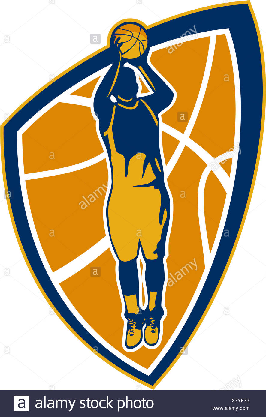 Illustration of a basketball player jump shot jumper shooting jumping set inside shield crest on isolated white background. - Stock Image