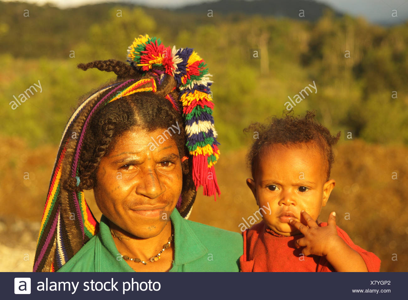 culture, ethnic, person, indigenous, people, native, tribes, tribeswoman, highlander, mother, child, Huli, Tari, valley, Tari Va - Stock Image