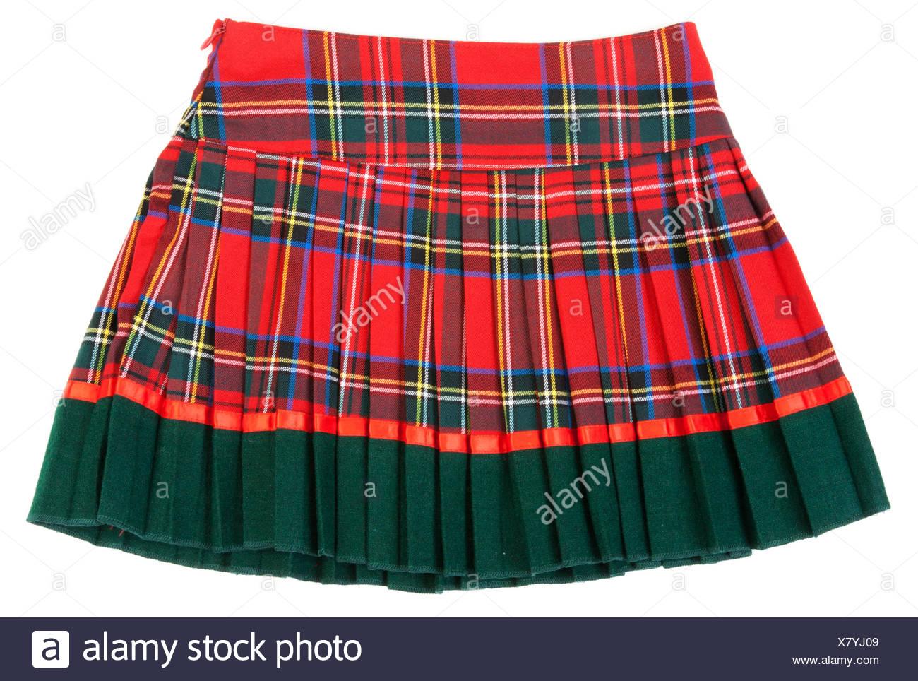Plaid red feminine skirt - Stock Image