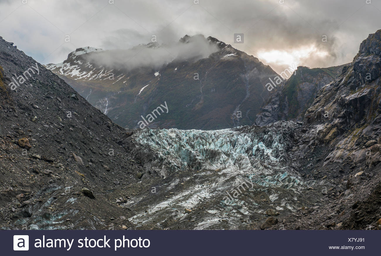 Glacier tongue, Franz Josef Glacier, West Coast, Southland, New Zealand - Stock Image