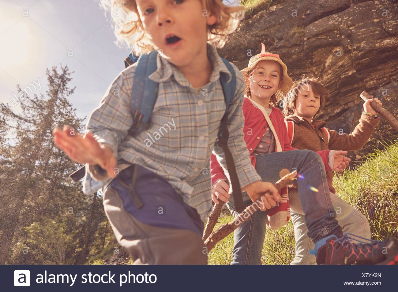 Three children exploring forest - Stock Image