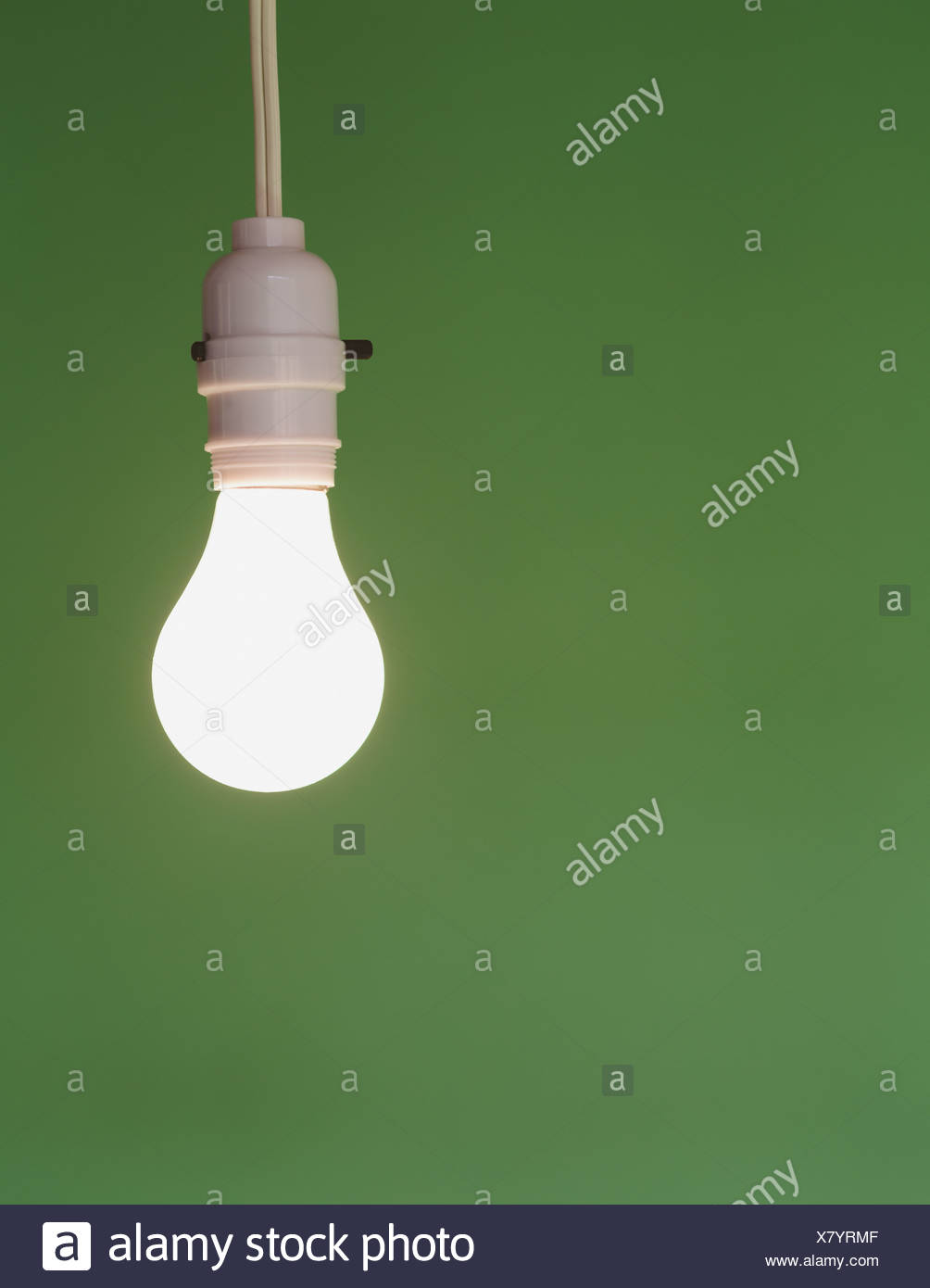 glass light bulb and switch white electric flex - Stock Image