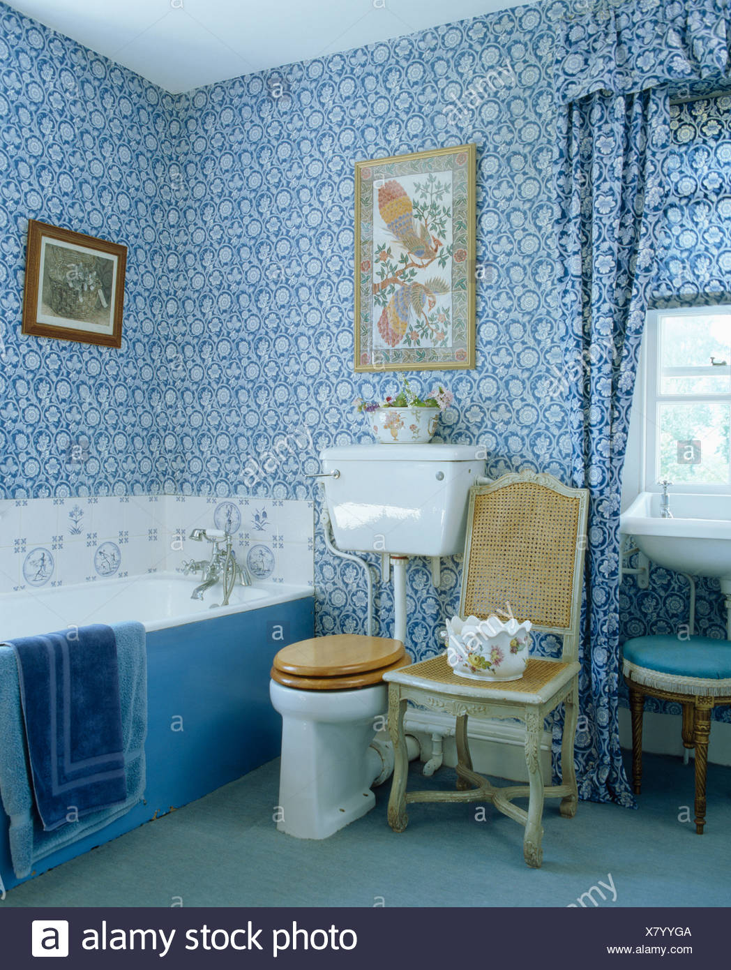 Blue White Floral Wallpaper And Matching Curtains In Traditional