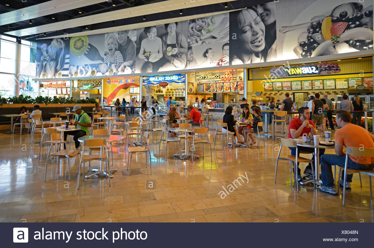 Typical U.S. food court at the Fashion Show Shopping Mall, Paradise, Las Vegas, Nevada, United States of America, USA - Stock Image