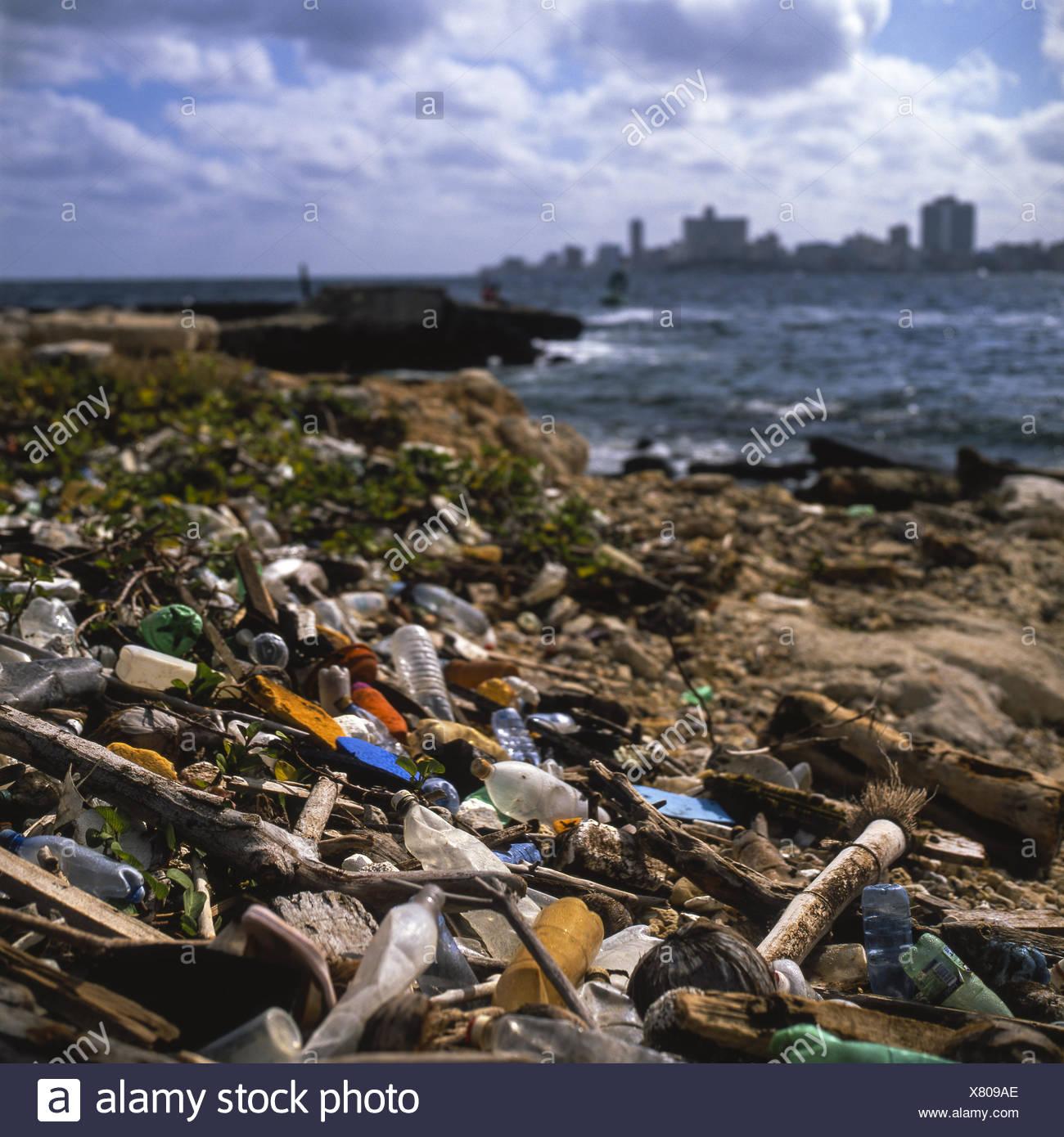 Choking on domestic waste Stock Photo