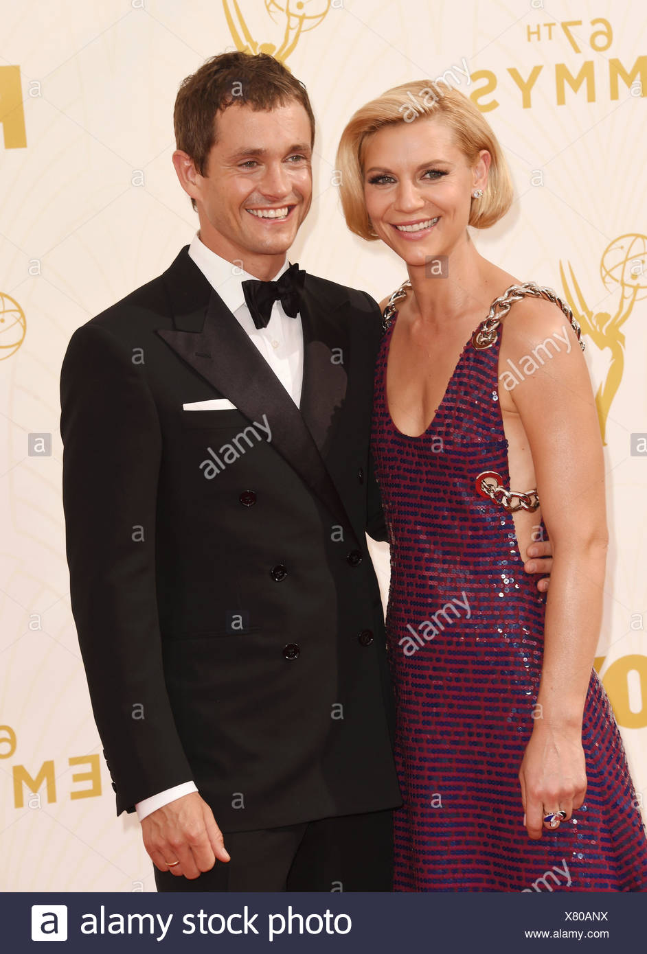 Actors Claire Danes (L) and Hugh Dancy attend the 67th Annual Primetime Emmy Awards at Microsoft Theater on September 20, 2015 in Los Angeles, California., Additional-Rights-Clearances-NA - Stock Image