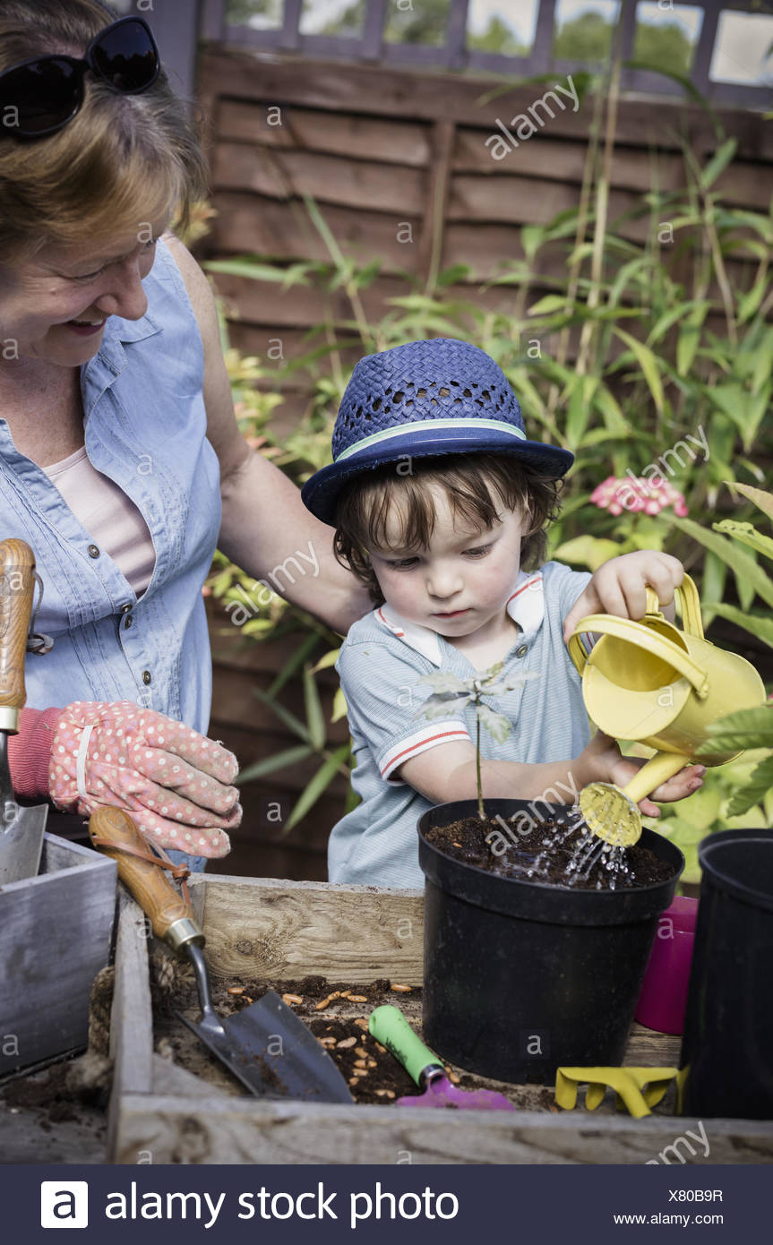 A woman and a young child water new seeds planted in a pot. - Stock Image