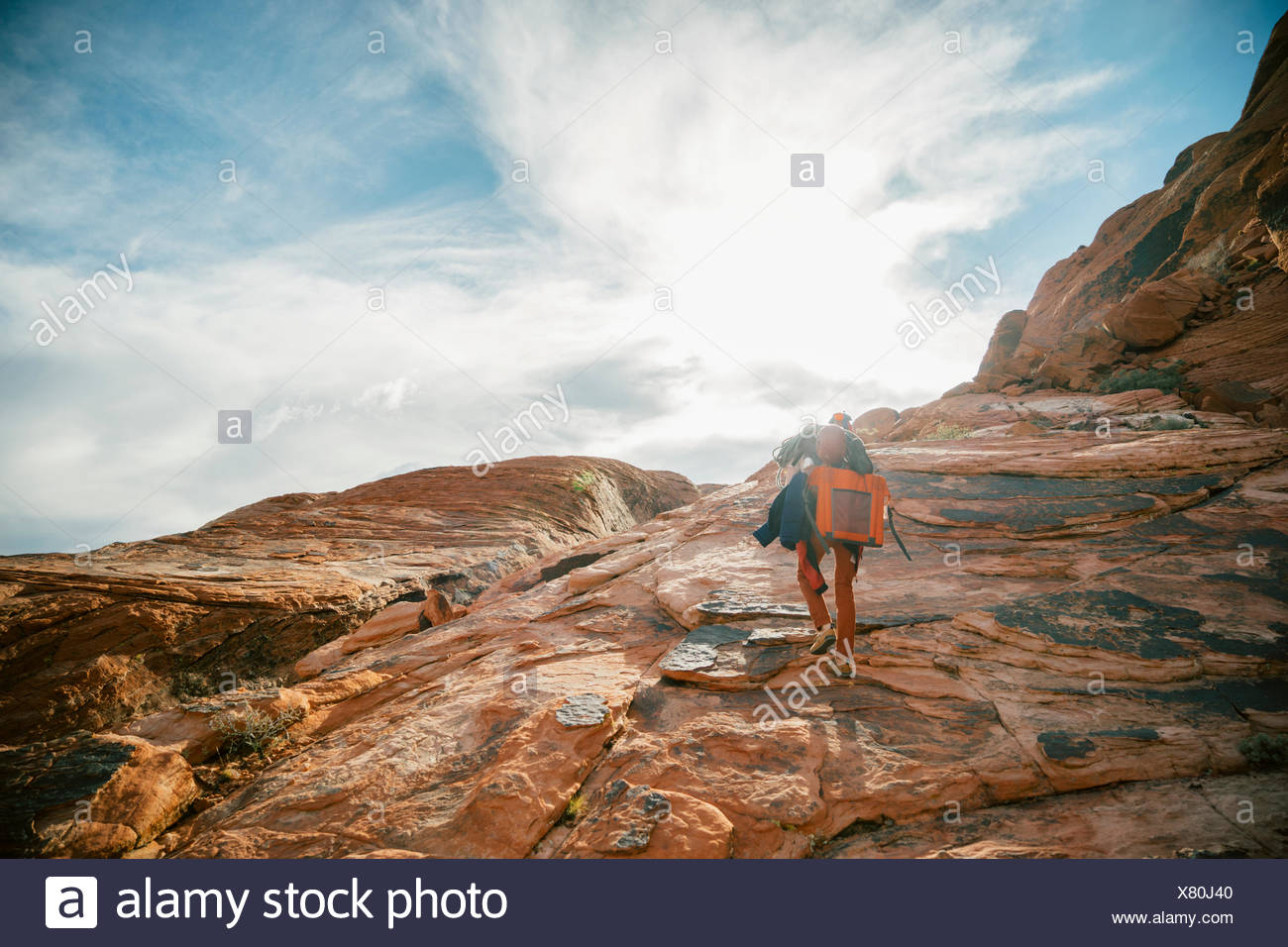 Climbers hiking to Panty Wall in Red Rock Canyon, Nevada Stock Photo