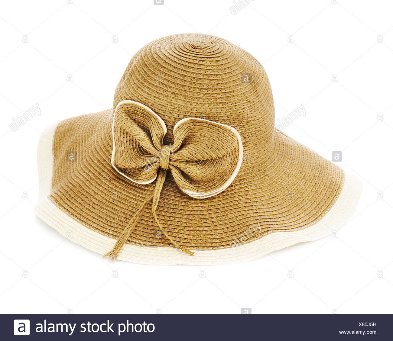 Beautiful summer hat isolated on white background. - Stock Image