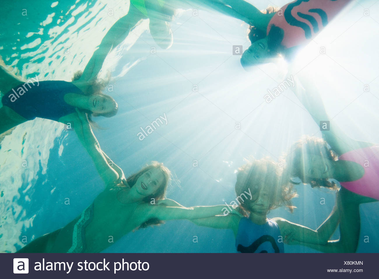 Synchronized swimmers,facing camera - Stock Image
