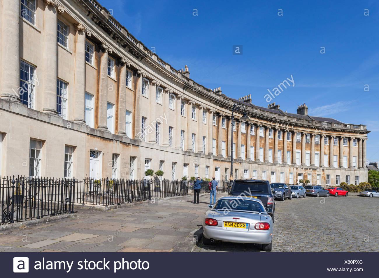 England, Somerset, Bath, Roman Baths, Royal Cresent - Stock Image