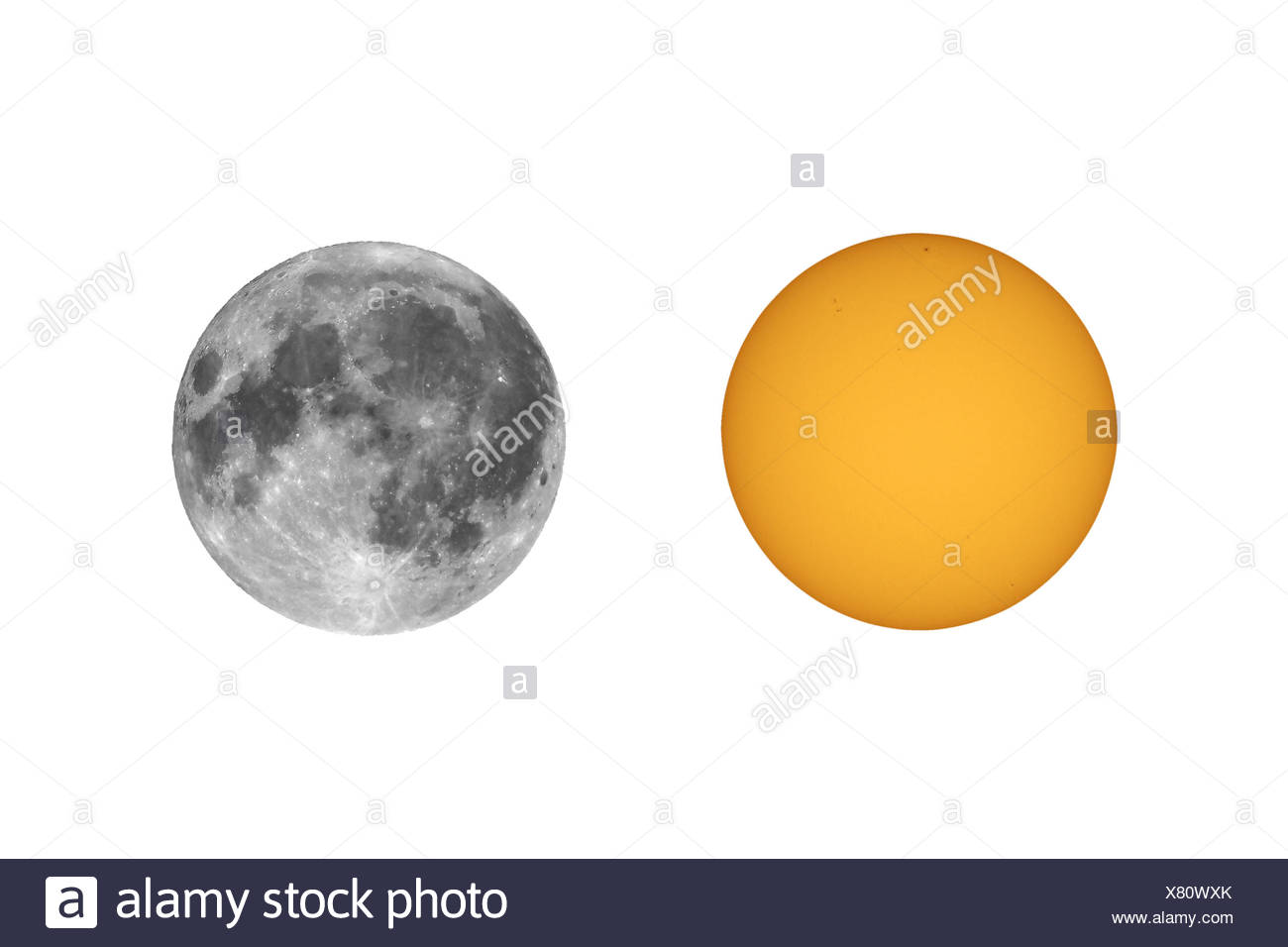 Sun with sunspots seen with telescope - Stock Image