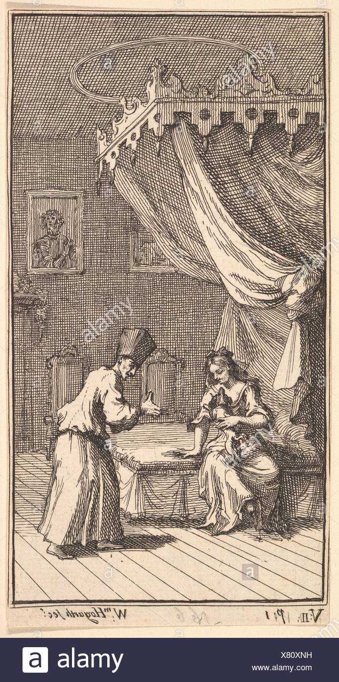 The New Metamorphosis, Plate 5: Fantasio, Transformed into a Lapdog, in the with Donna Theresa. Artist: William Hogarth (British, London 1697-1764 - Stock Image
