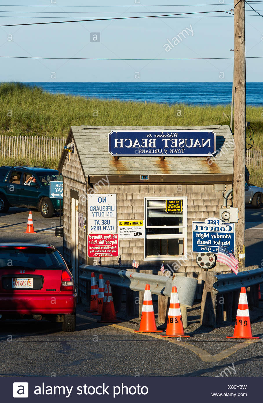 Security check booth at Nauset beach, Cape Cod National seashore, Orleans, Massachusetts, USA - Stock Image