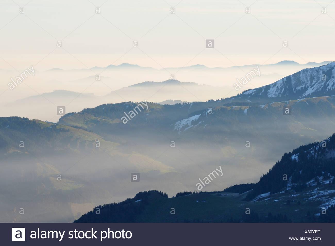 Atmospheric inversion in Appenzeller Land, Kanton Appenzell Innerrhoden, Switzerland, Europe - Stock Image
