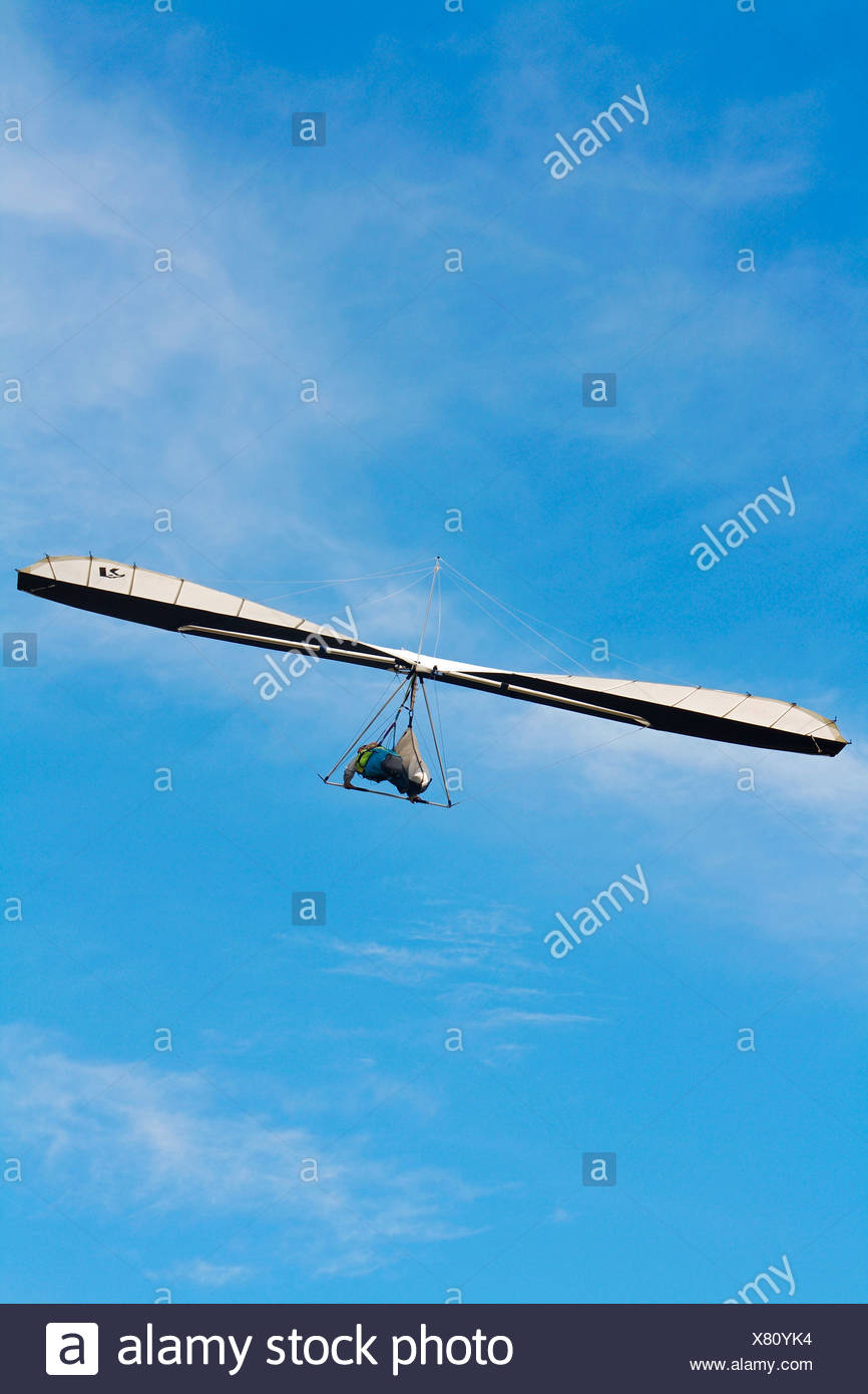 Australia, North Queensland, person hang gliding in mid-air - Stock Image