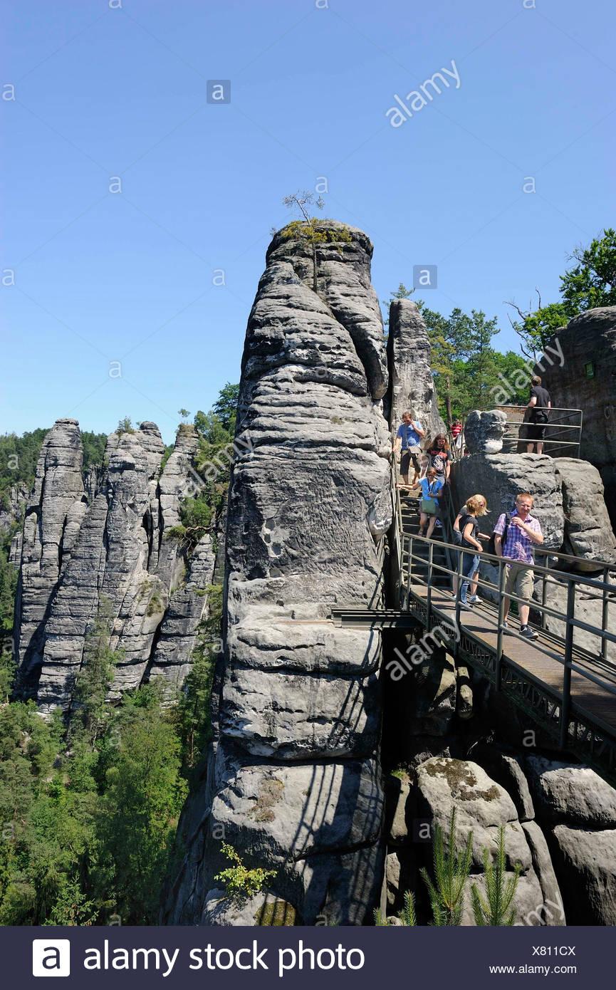 Bastei rock formation, Elbsandsteingebirge Elbe Sandstone Mountains, Saxon Switzerland, Saxony, Germany, Europe - Stock Image