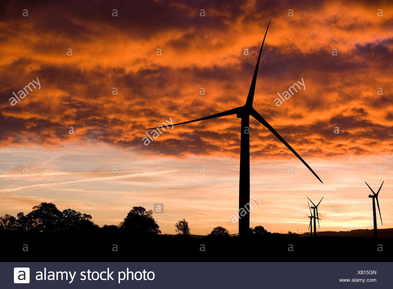 Windmills silhouetted against orange clouds - Stock Image