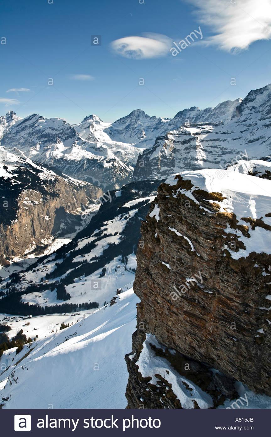 Lauterbrunnen valley in winter, Bernese Oberland, Canton of Bern, Switzerland, Europe Stock Photo