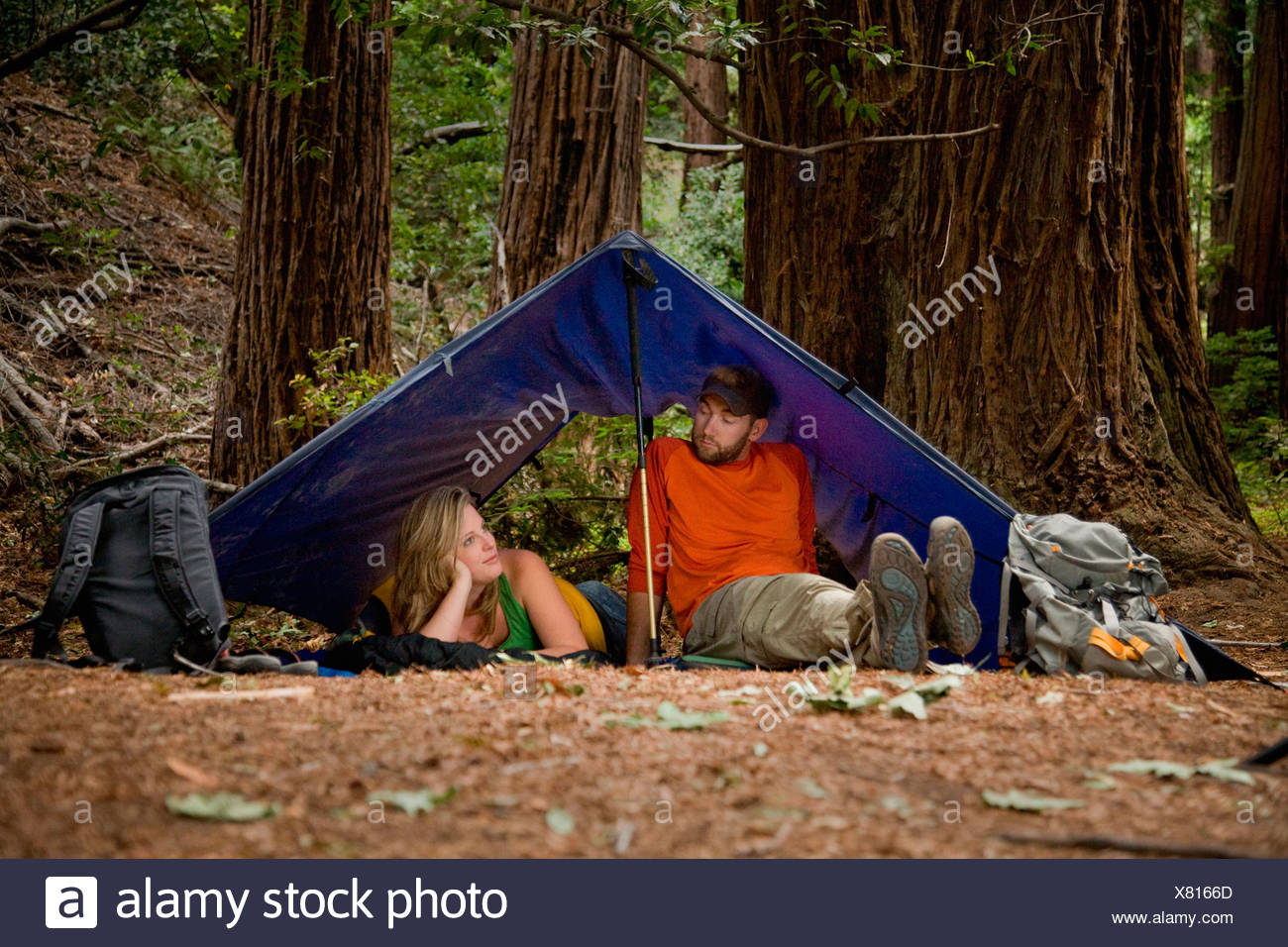 A young couple camping in the redwood forests of Big Sur. - Stock Image