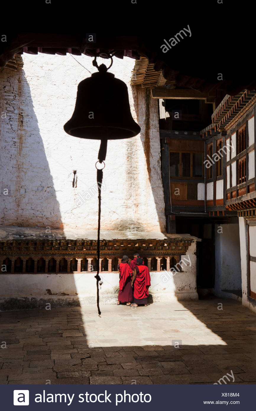 Kingdom Bhutan, monks in the cloister, - Stock Image