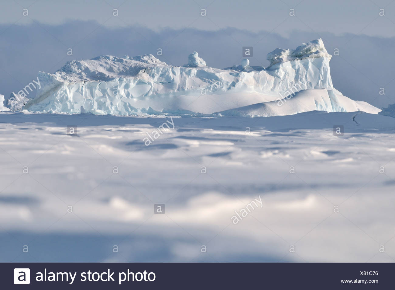Frozen fjord, Qeqertarsuaq or Disko Island, Greenland, Arctic North America - Stock Image