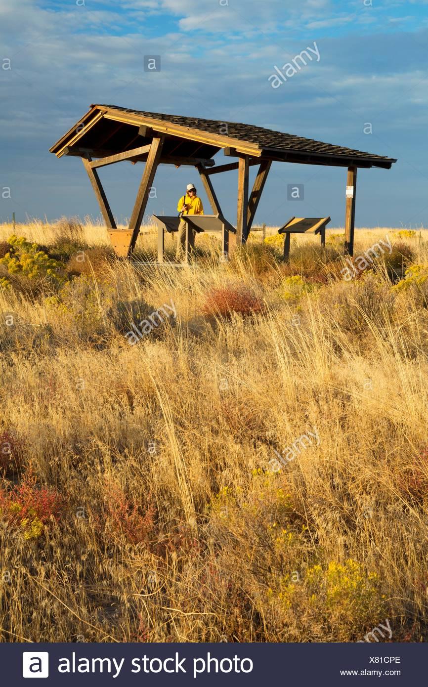 Kiosk at Echo Meadows, Oregon Trail National Historic Trail, Oregon. - Stock Image