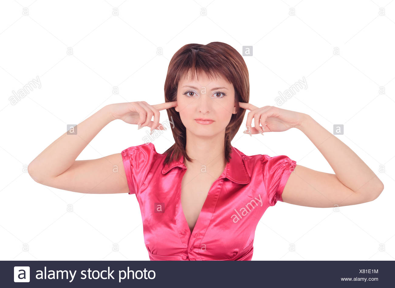 picture of woman with hands on ears Stock Photo