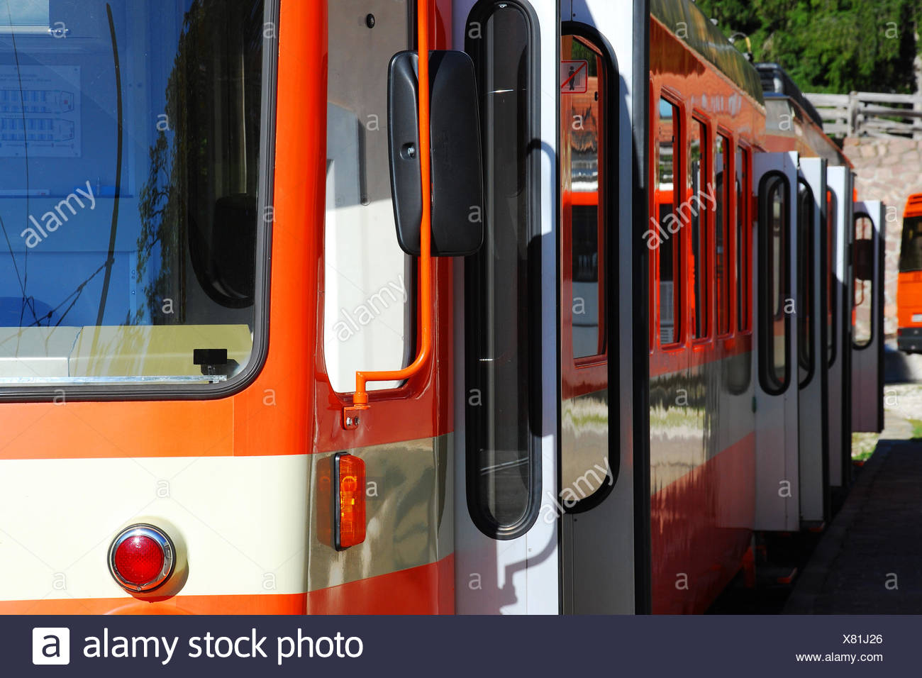 Train with open doors - Stock Image