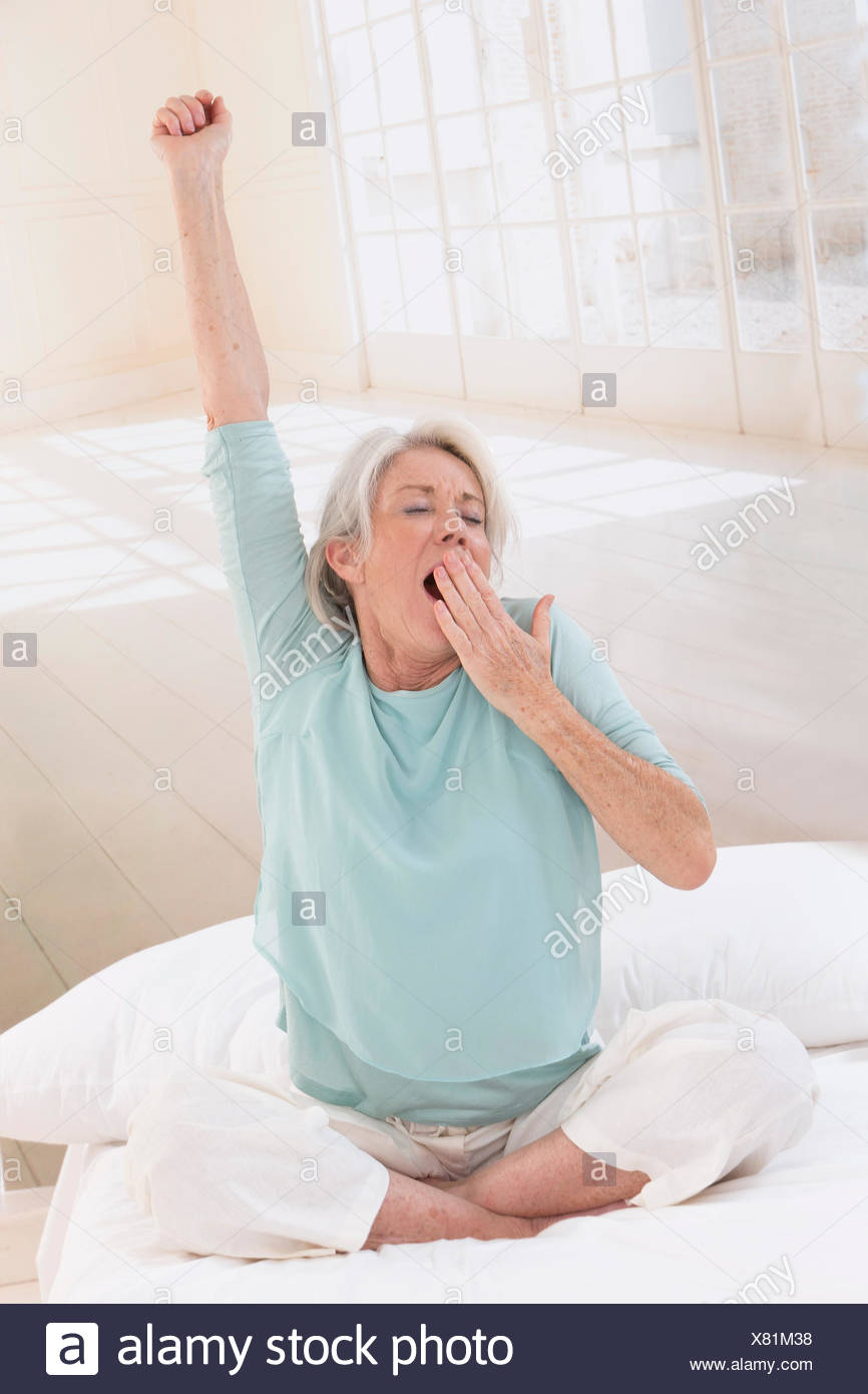 SENIOR STRETCHING - Stock Image
