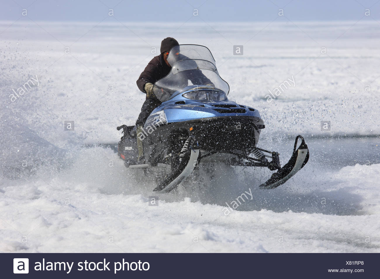 North America, Canada, Nordkanada, Nunavut, Baffin Iceland, Eclipse sound, Pond Inlet, pack ice, Inuit, Skidoo, Snow-mobile, - Stock Image
