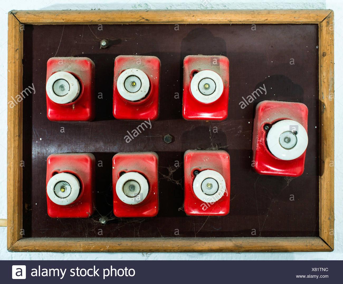 Red vintage electrical fuse. Switchboard Stock Photo ... on vintage fuse panel, vintage automotive fuse box, vintage electric fuse box, vintage safety deposit box, vintage home fuse box,
