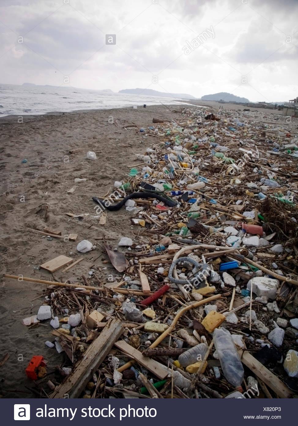 Polluted beach of Licola, Giugliano, Naples, Campania, Italy, Europe - Stock Image