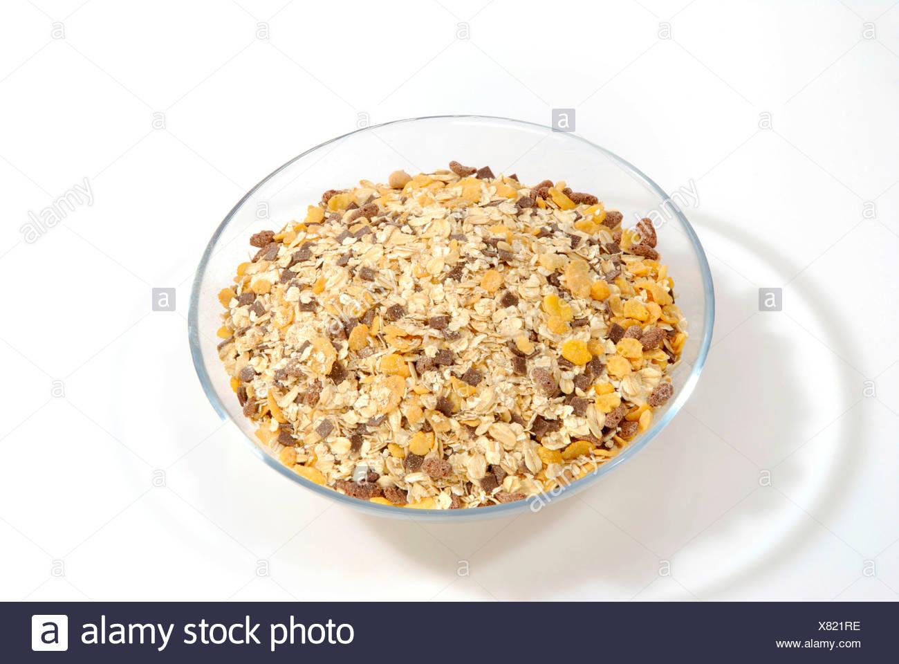Muesli in glass bowl Stock Photo