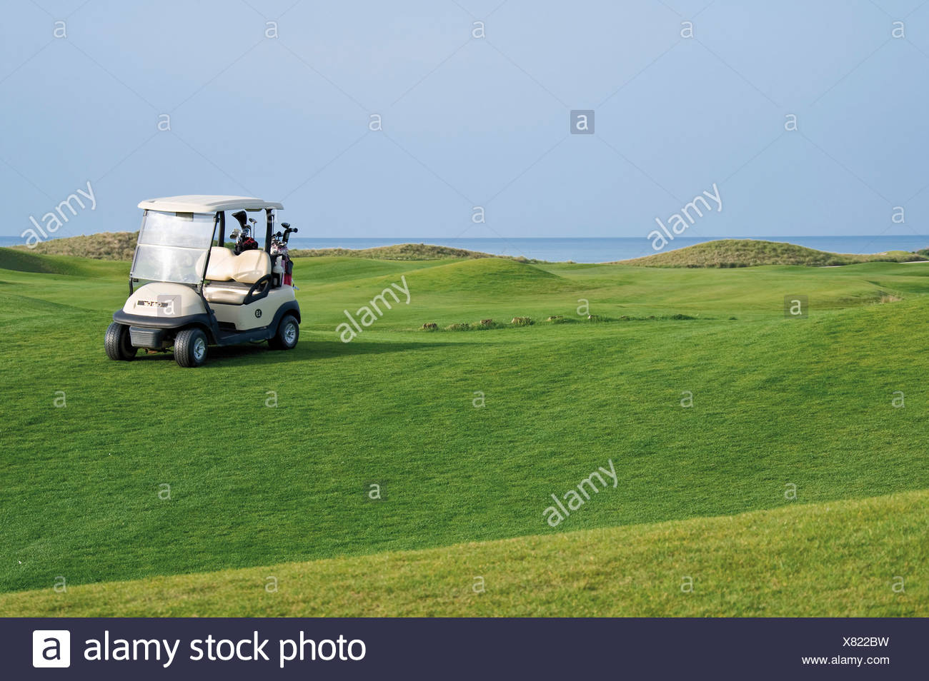 Turkey, Antalya, Golf cart on meadow at golf course - Stock Image