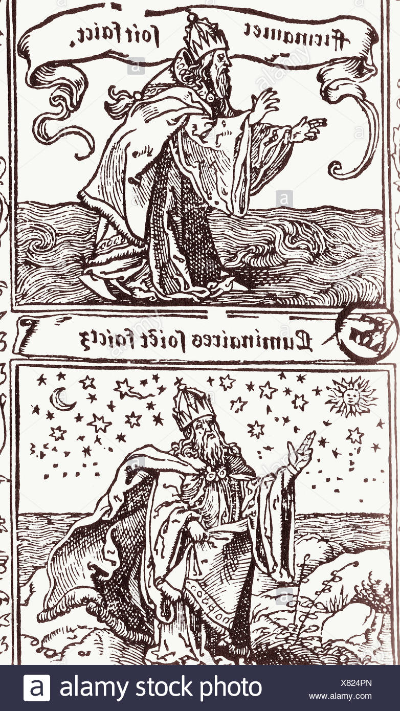 God, creator and providence, gives nature its beauty. French Bible. Anvers, 1534 - Stock Image