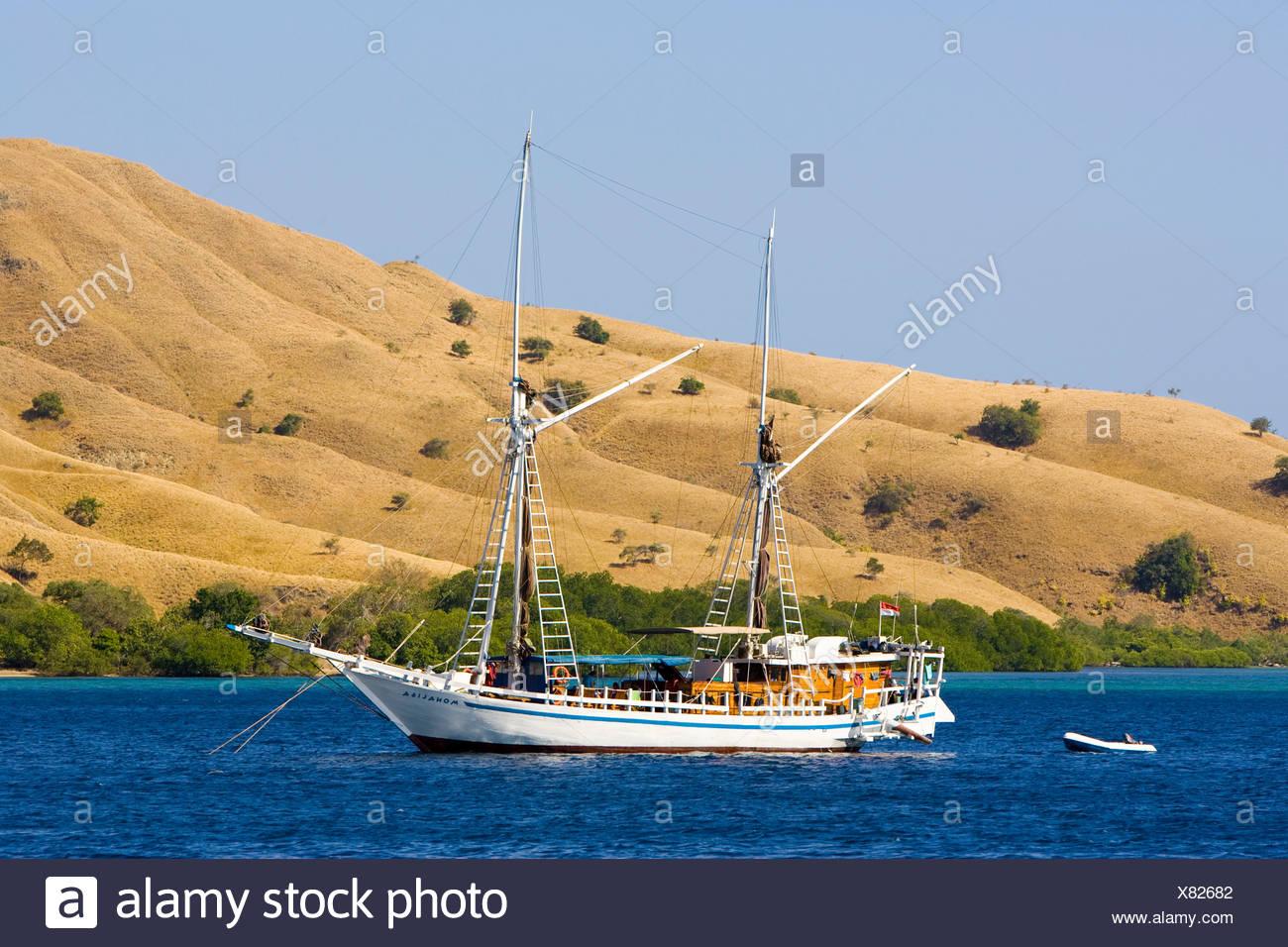Dive ship for tourists, Komodo, Lesser Sunda Islands, Indonesia, Southeast Asia - Stock Image