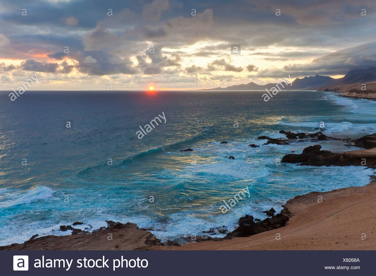 Coast of Costa Calma at sunset, Fuerteventura, Spain - Stock Image