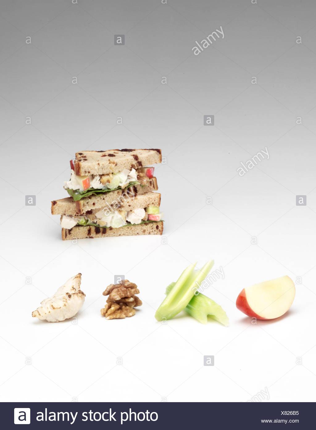 Chicken and apple sandwich Stock Photo