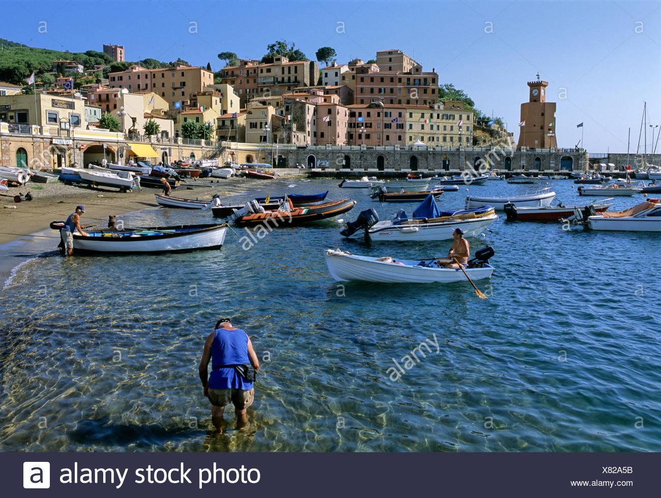 Boats, harbour, Rio Marina, the island of Elba, Livorno Province, Tuscany, Italy, Europe - Stock Image