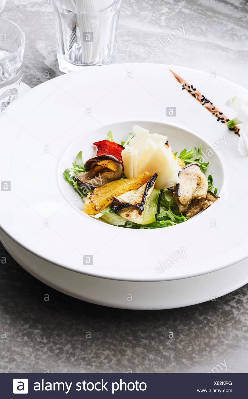 Grilled veggies salad, vertical orientation - Stock Image