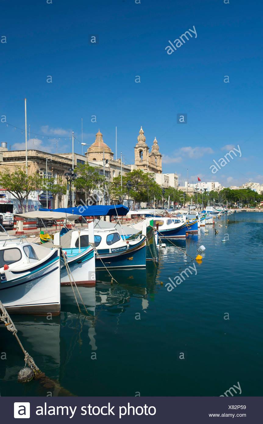 Fishing boats at Msida Creek in Valletta, Malta, Europe - Stock Image