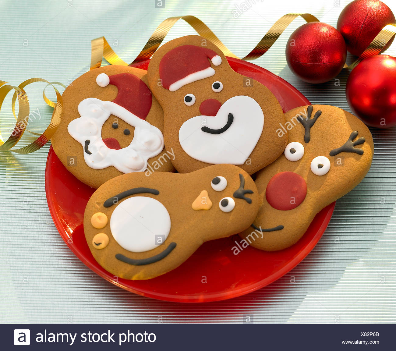 Christmas Santa Reindeer And Robin Gingerbread Biscuits Stock Photo