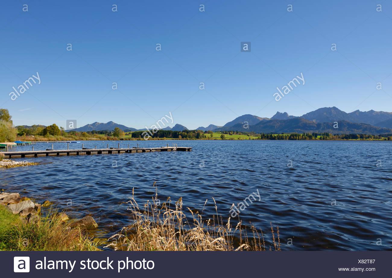 Hopfensee, Hopfen am See, OstallgŠu, AllgŠu, Bayern, Deutschland, Stock Photo