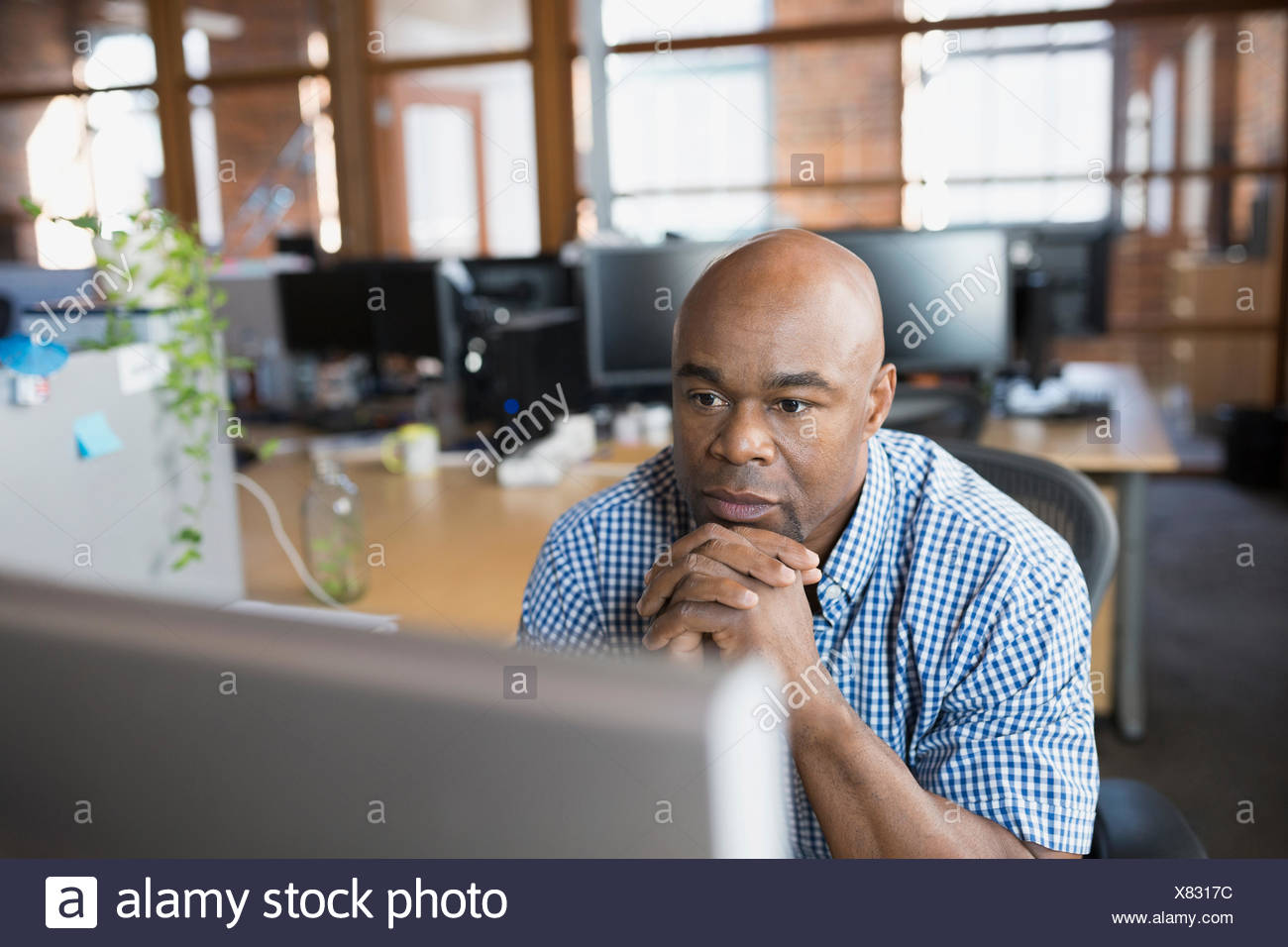Serious businessman working at computer in office - Stock Image