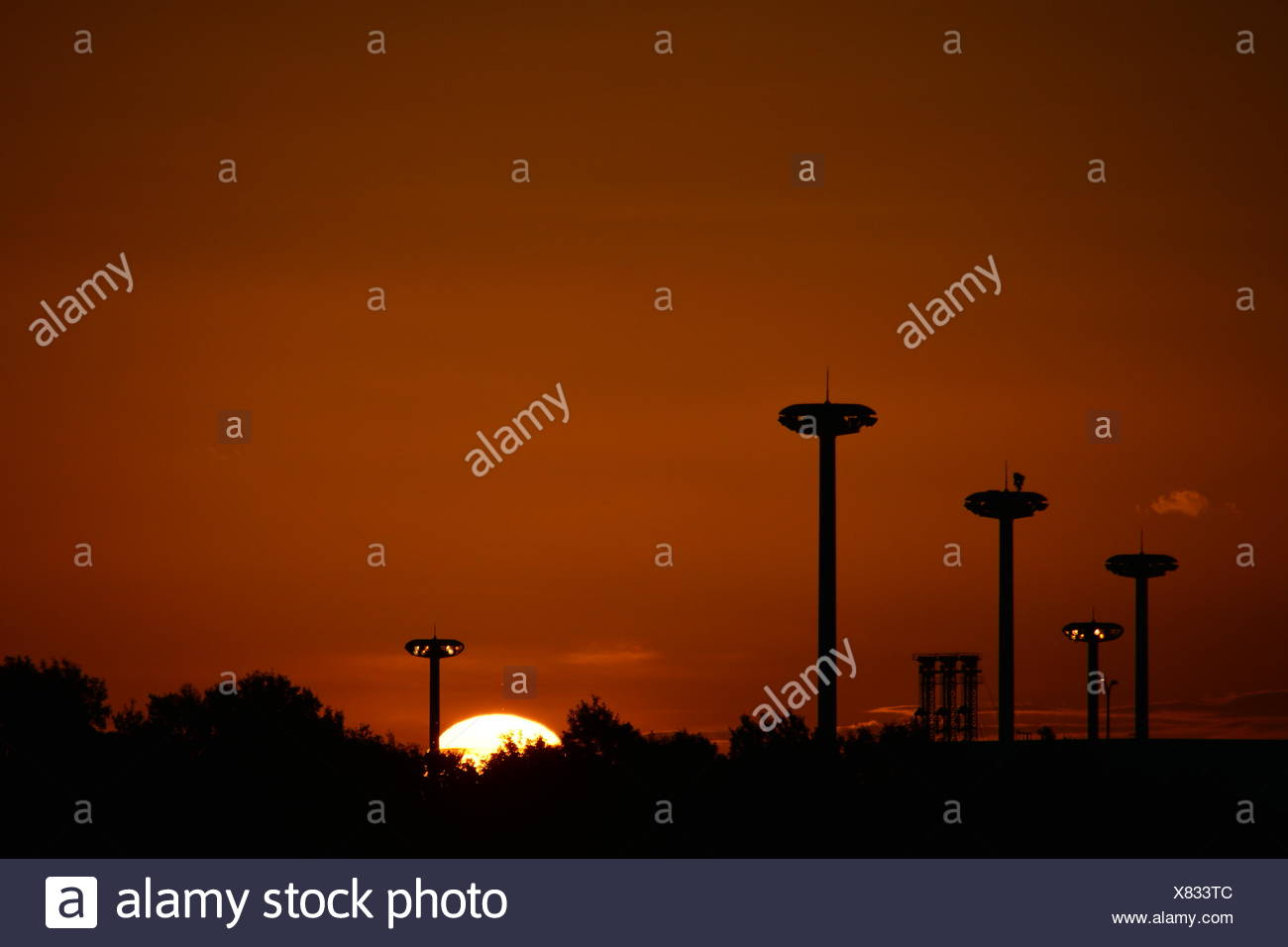 Silhouette Of Floodlight - Stock Image